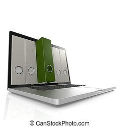 laptop, zielony, skoroszyt