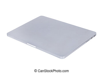 laptopdator, isolerat, bakgrund, vit