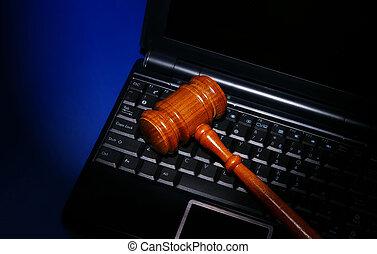 laptopn, számítógép, noha, jogi, bíróság, árverezői kalapács, képben látható, billentyűzet