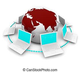 laptops, aarde, globaal net, ongeveer