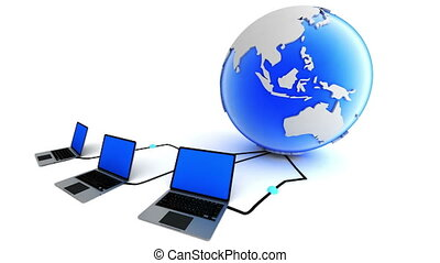 Laptops connection with globe. Global network concept.