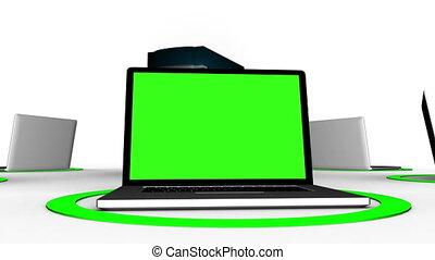 laptops, connettere, a, server