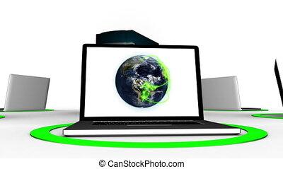 laptops, connettere, con, server