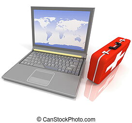 laptops , diagnostic., 3d , illustratio