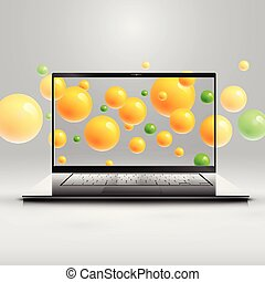 Laptop's enhanced saturation presentation by colorful spheres behind, vector illustration