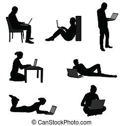 laptops, hun, werkende mensen