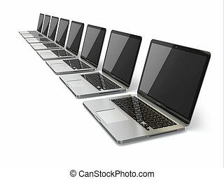 Laptops in a row on white background