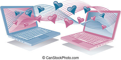 Laptops In Love - Vector illustration of blue and pink...