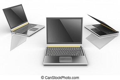 laptops isolated over white background