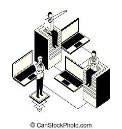 laptops, mannen, kelner, zakelijk, databank