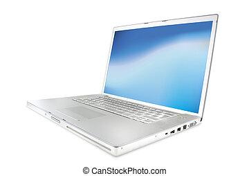 laptops, modern, glänzend, silber
