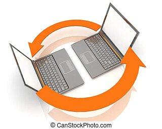 Laptops on white background