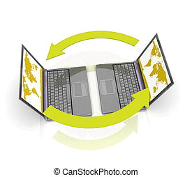 Laptops on white background with reflection