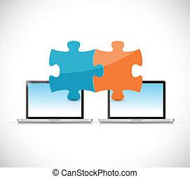 laptops puzzle pieces illustration design
