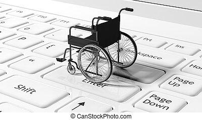 laptops, tastiera, carrozzella, concettuale, nero
