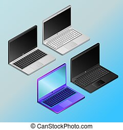 laptops with empty screens in isometry