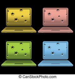 laptops with gun shots on monitor