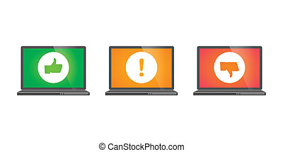 Laptops with survey icons