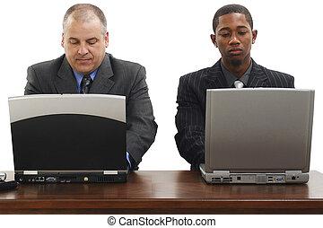 laptops, zakenlieden, bureau