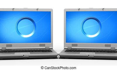 laptopy, ożywienie, czysty, szczelnie-do góry, hd