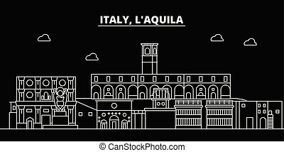 LAquila silhouette skyline. Italy - LAquila vector city, italian linear architecture, buildings. LAquila travel illustration, outline landmarks. Italy flat icons, italian line banner