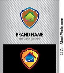 lar, ícone, casa, proteção, logotipo