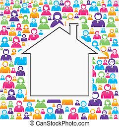 lar, ícone, grupo, pessoas
