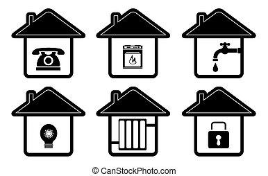 lar, ícones, dispositivo, casa