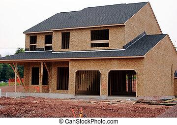 lar, único, construção, família, sob