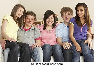 lar, adolescente, amigos, relaxante