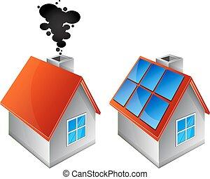 lar, alternativa, aquecimento, energia, fontes