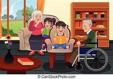 lar, aposentadoria, visitando, crianças