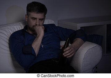 lar, bebendo, Cerveja, homem