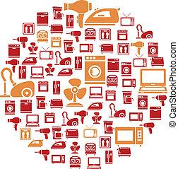 lar, círculo, dispositivo, ícones