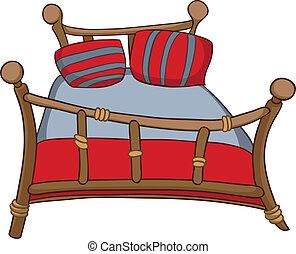 lar, caricatura, cama, mobília