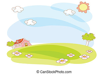 lar, caricatura, paisagem