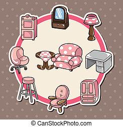 lar, cartão, mobília
