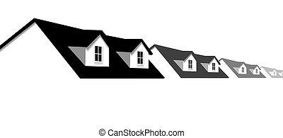 lar, casas fileira, borda, com, dormer, telhado, janelas