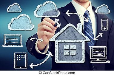 lar, conceito, nuvem, computando