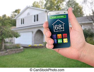 lar, controle, esperto, telefone, monitorando