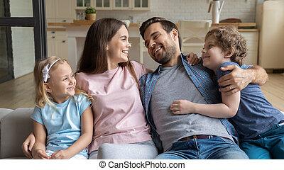 lar, crianças, família, feliz, jovem, relaxante