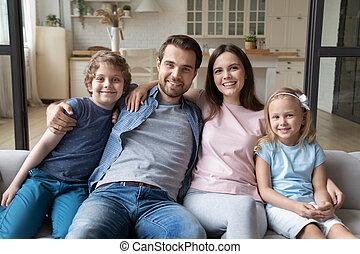 lar, crianças, família, feliz, relaxante, retrato