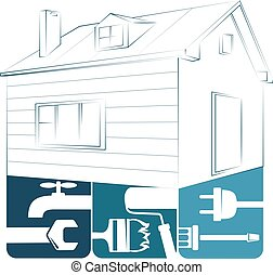 lar, desenho, reparar