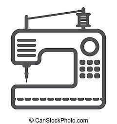lar, dispositivo, ícone, linha, máquina, cosendo