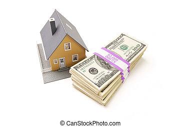 lar, e, pilhas, de, dinheiro, isolado