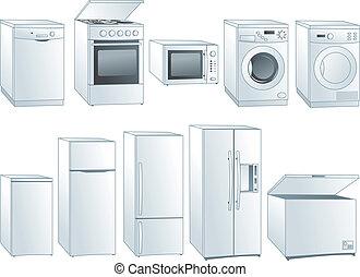 lar, eletrodomésticos, ilustrações, jogo
