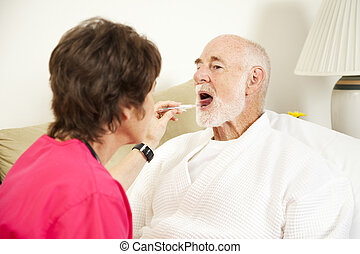 lar, enfermeira, leva, temperatura