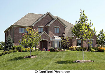 lar, entrada, tijolo, arqueado, luxo