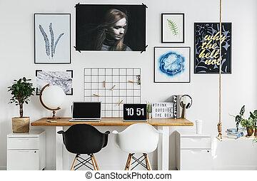 lar, escrivaninha, escritório, dobro