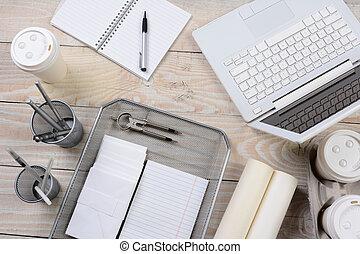 lar, escrivaninha, escritório, itens